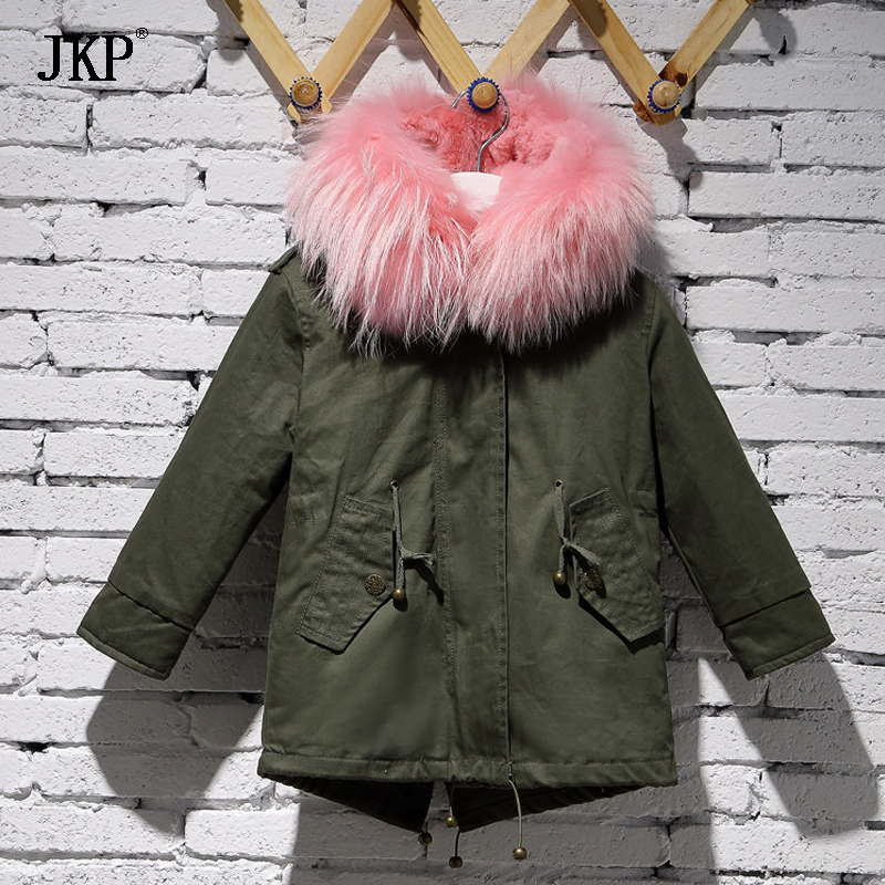 цена Children army green Large raccoon fur collar hooded baby fur coat parkas outwear detachable rabbit fur lining winter jacket