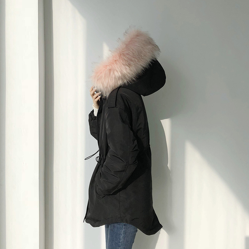 women long sleeve korean style warm cotton   parkas   winter coat hooded oversized   parkas   female