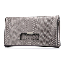 QIANGSHILI Brand Fashion Socialite Serpentine Split Leather Fold Over Envelope Luxury Handbags Women Bags Designer High Quality