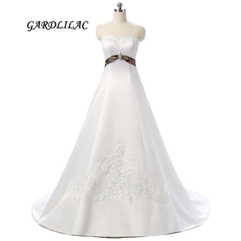 2019 New Arrival Designer Camouflage Wedding Dresses With Beautiful Appliques Bead Floor Length Long Camo White