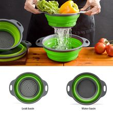 Double Layer Collapsible Washing Fruit Drain Vegetable Basket Round Kitchen  Water Filter With Waterlogging Wash