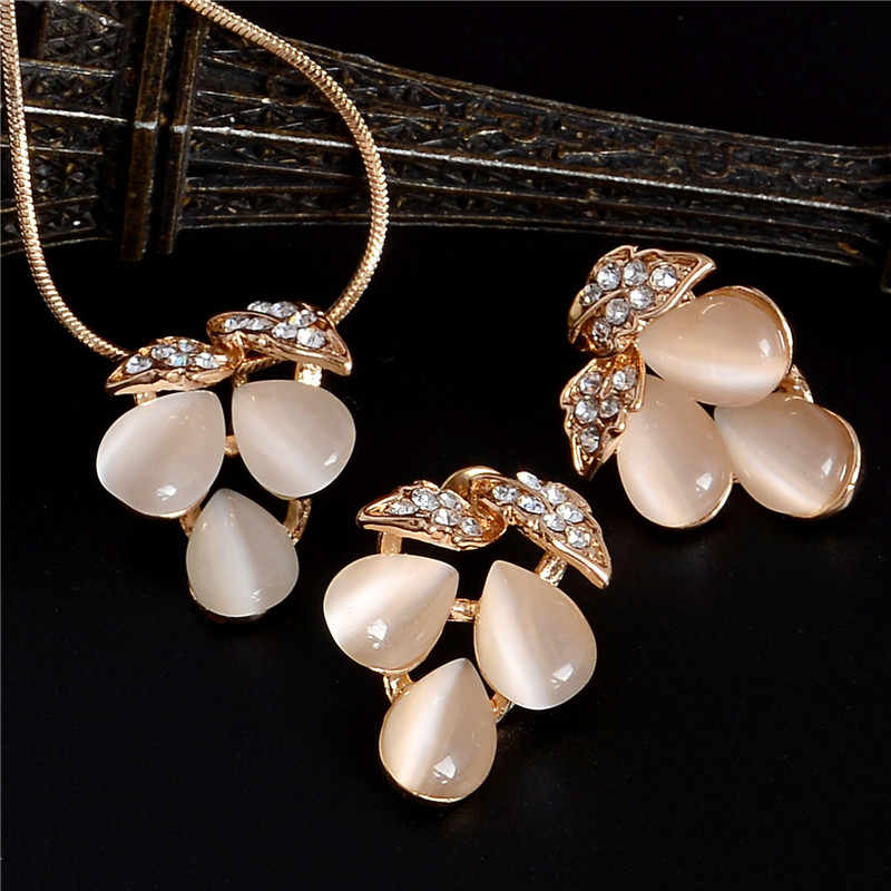 ZOSHI Golden Plated Jewelry Sets For Women Luxury Wedding Bridal Rhinestone Gem Jewelry Set Opal Cat's Eye Necklace Earrings Set