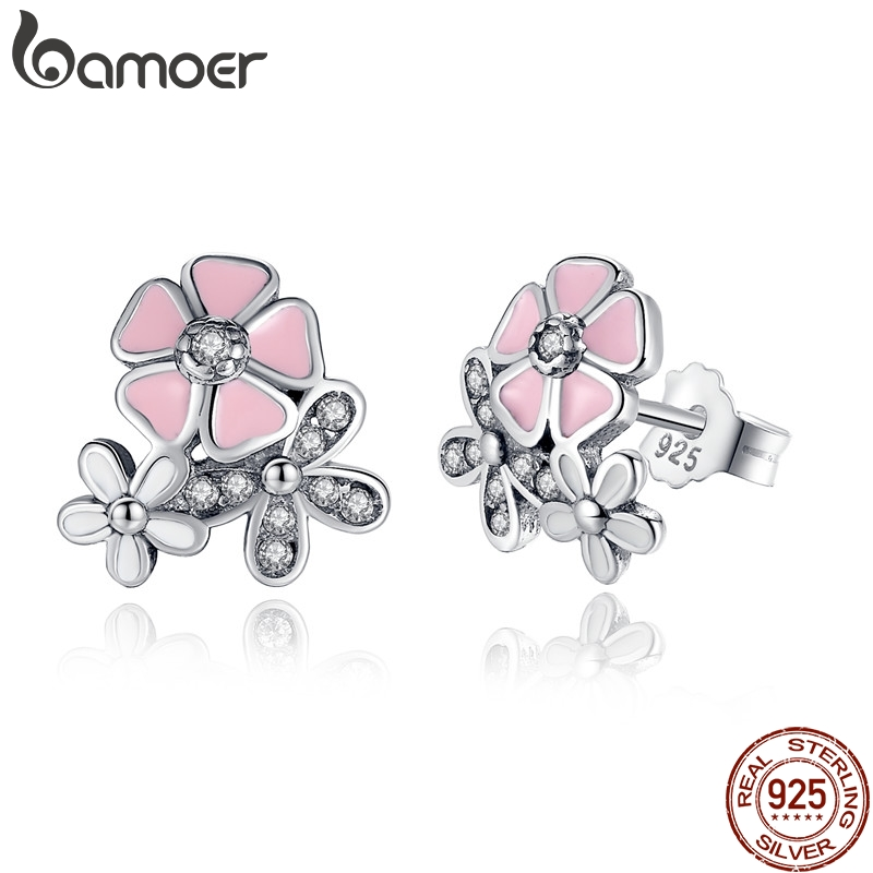 925 Sterling Silver Poetic Daisy Cherry Blossom Drop Earrings Mixed   Clear  CZ Pink Flower Women ANNIVERSARY SALE 2018 PAS461 - a.martinac.me da2aa8fd3588