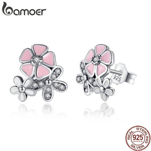 925 Sterling Silver Poetic Daisy Cherry Blossom Drop Earrings Mixed & Clear CZ P