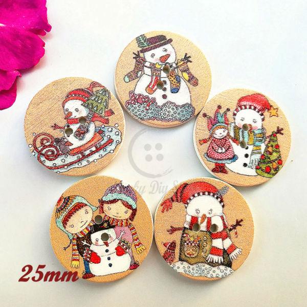 Santa Christmas Decoration Wood Buttons 20mm Sewing Mix Lots 50PCS