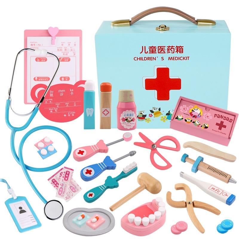 Nouvelle Simulation en bois pour enfants semblant jouer docteur jouet infirmière jeu d'injection boîte de médecine cadeau pour enfants
