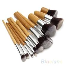 11Pcs Wood Handle Professional Makeup Cosmetic Soft Eyeshadow Foundation Concealer Brush Set Brushes Beauty Tool