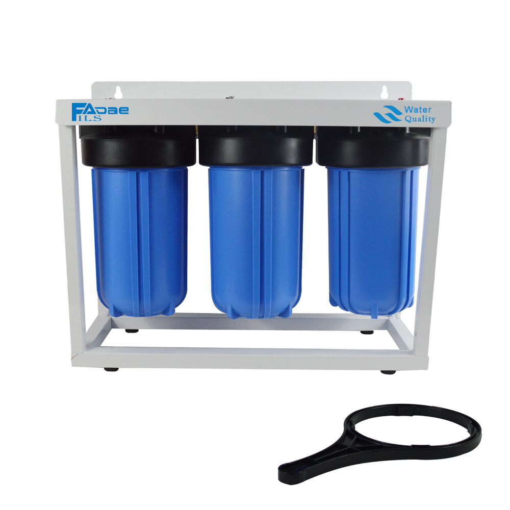 Three Stage Big Blue Whole House Water Filtration System with 10in. PP Sediment,Activated Carbon and Carbon Block Filter,1 port em 307s 7 8 filter drier providing filtration in refrigeration system and hvac products