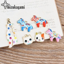 Zinc Alloy Enamel Charms Colourful Cartoon Animal Cat Horse Charms 10pcs/lot For DIY Fashion Earrings Jewelry Making Accessories charms for jewelry making floating charms enamel charms zinc alloy sun moon