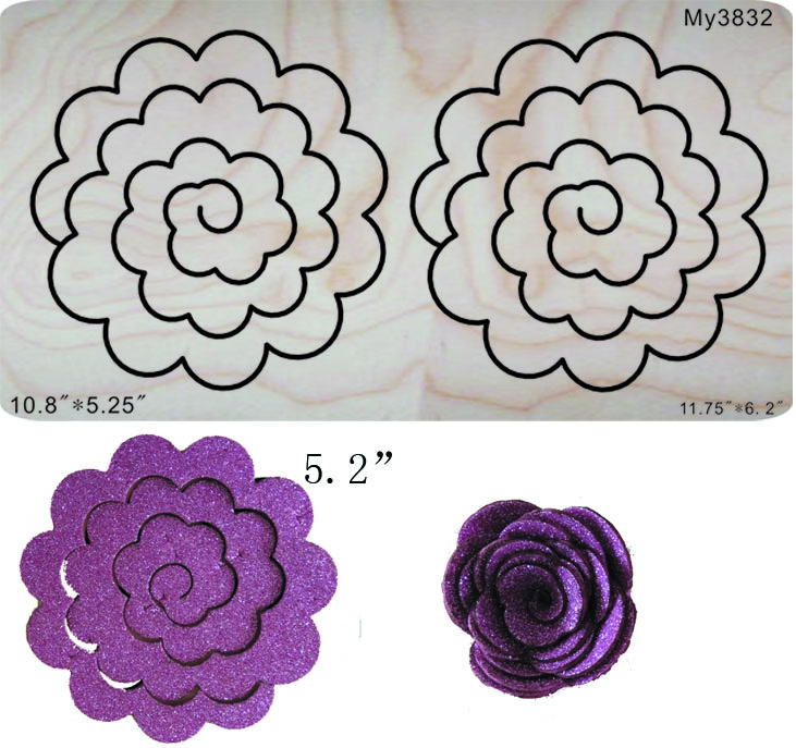 Stereo flower R Wooden dies for scrapbooking fit machine