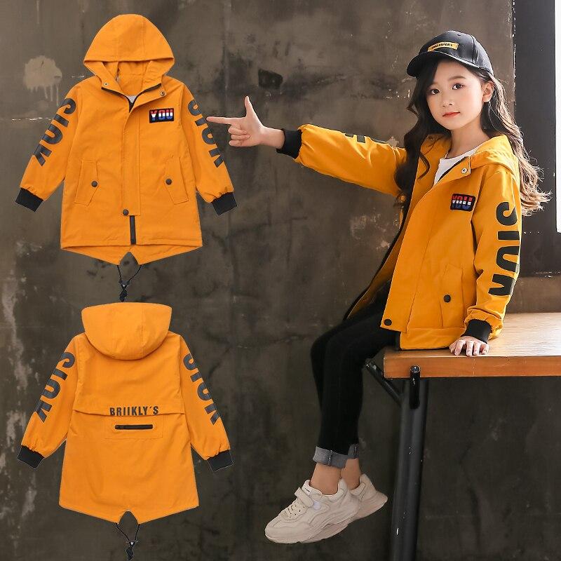 Kids Girls Trench Coat Hoodies Jacket 4 6 8 10 12 13 Years Teenage Girls Clothing 2020 Back To School Autumn Outerwear Children