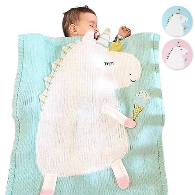 Unicornio de manta de lana ropa de cama colcha tejido a mano ...