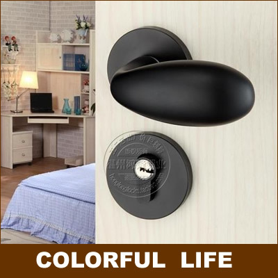Black Small  Round handles locks sets for Wooden doors,Space aluminum Double Bearing Mute lock,Hardware