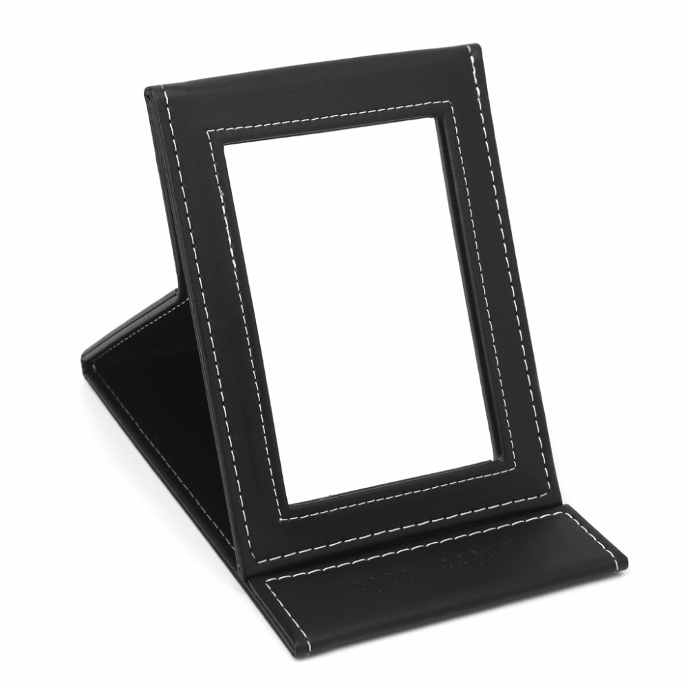 Mirrors Portable Beauty Pu Leather Makeup Cosmetic Compact Folding Table Mirror Women Black Color D2966 Providing Amenities For The People; Making Life Easier For The Population