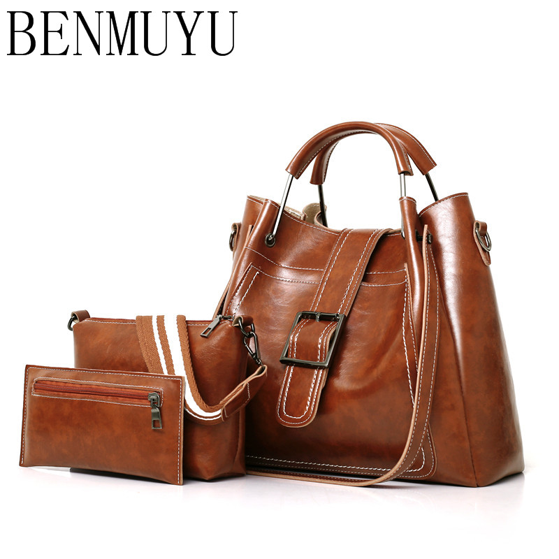 BENMUYU,leather handbags, 3 Pcs,women's bags,New 2018 belt buckle handbags sewing thread on one shoulder mother-child bags metal buckle belt 3 pcs