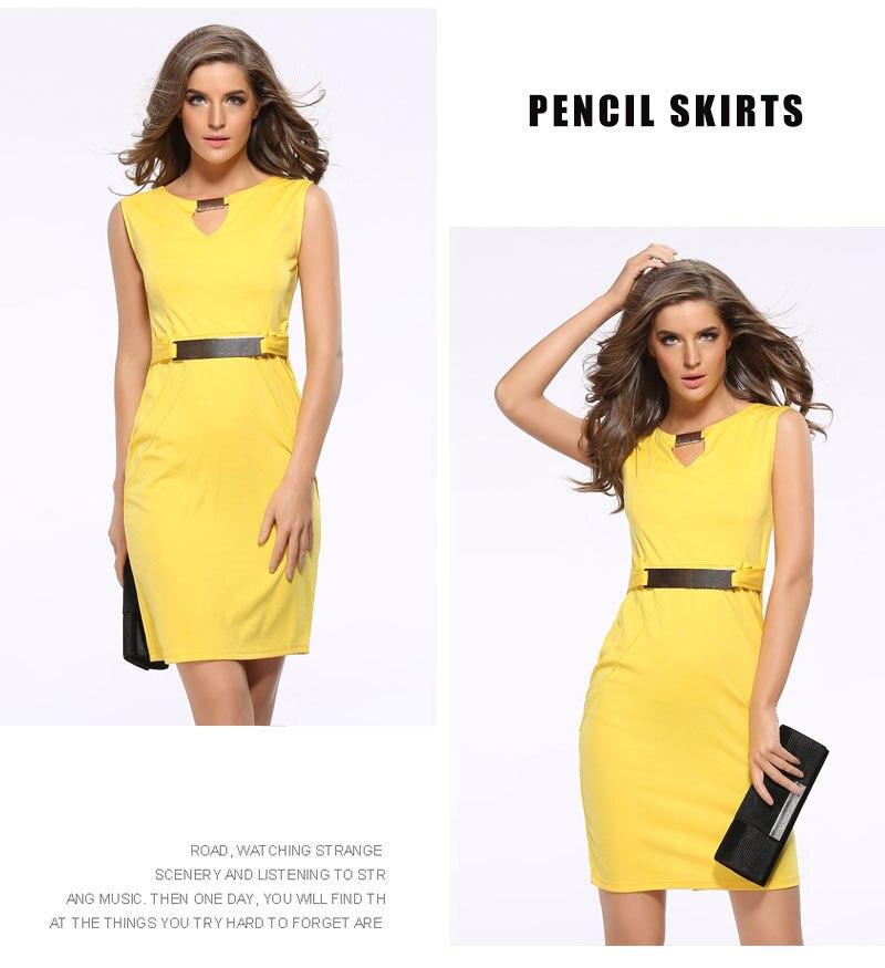 Women Summer Dress Fashion Hollow Out Sleeveless Pencil Dress Knee Length Women Casual Dresses Yellow Red Blue Black Plus Size 5