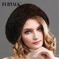 FURTALK 100% natural de piel de visón sombrero de las mujeres boina de sombreros de piel de visón de piel de invierno