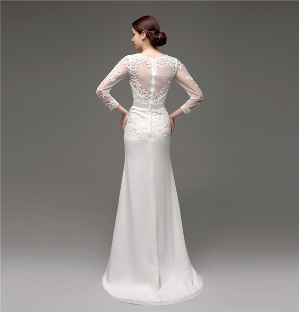 Floor-Length V-Neck Lace Chiffon Full Sleeves Wedding Dress 2