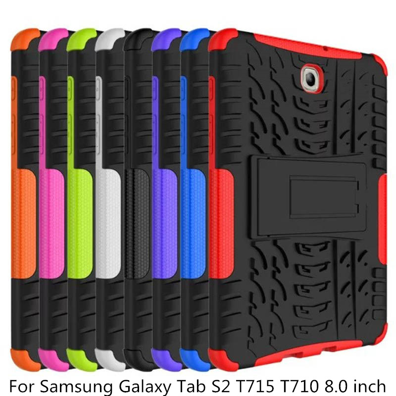 Deslumbramento de Impacto Heavy Duty TPU + PC Armadura Kickstand Híbrido Capa Dura Para O Samsung Galaxy Tab S2 T715 T710 8.0 polegada Tablet Caso