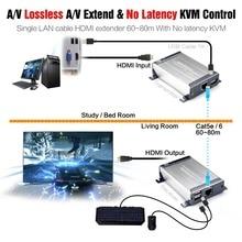 HDMI Extensor KVM USB con Pérdidas y Sin Latencia 60 m KVM Extender Sobre Individual Cat5e/6 Cable UTP HDMI USB KVM Extender por rj45
