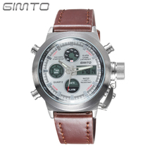 GIMTO Military Sport Watch Analog Digital Nylon Dual Display Watch Men LED Eletronicos  Men's Watches Waterproof Wristwatch Mens