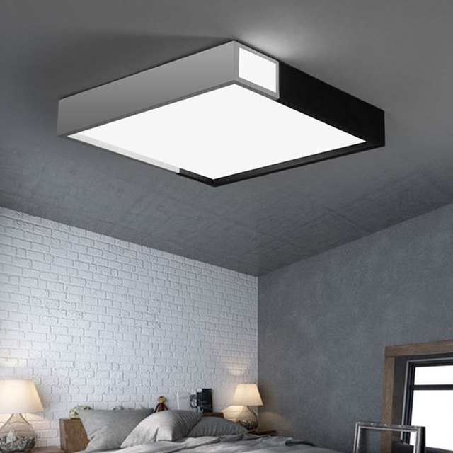 Minimalist Black And White Modern Bathroom Ceiling Lights Living Room Rectangular Led Lamp Lighting