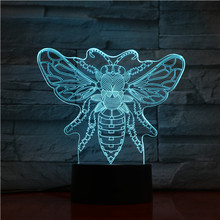 Animal Bee Led Night Light Touch Sensor 7 Color Changing Apis Decorative Lamp Child Kids Baby Kit Nightlight Honeybee 3D Lamp animal hippo led night light touch sensor 7 color changing decorative lamp child kids baby kit nightlight river horse 3d lamp