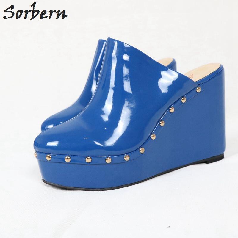 Plus Cuñas 2019 Zapatillas Zapatos Damas Sorbern Tamaño Patente custom De Azul Diapositivas Personalizado Us4 Remaches Mujer Color us15 R0qIqxwZ