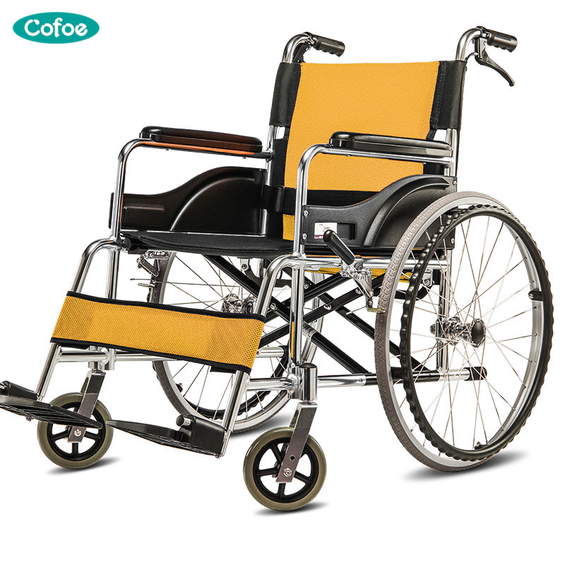 Cofoe Yiqiao Manual Wheelchair Aluminium Alloy Folding Portable Scooter with Handbrake for Old People the Aged the Disabled portable cofoe yishu wheelchair full back rest folding galvanized steel scooter with pedestal pan for the aged 2018 newest