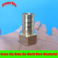 цена на 16mm Hose Barb Tail To 1/2PT BSP Female Thread Straight Barbed Brass Connector Joint Copper Pipe Fitting Coupler Adapter