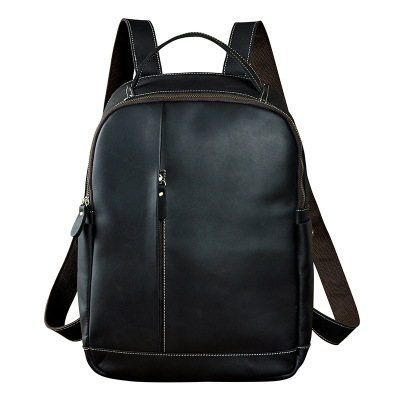 Crazy Horse Leather Imported Retro Large Capacity 14 Inch Backpack Casual Zipper Computer Bag Unisex Black Shoulder Bag