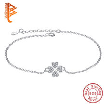 Fashion Jewelry Authentic 925 Sterling Silver Jewelry Austrian Crystal Four Leaf Clover Heart Charm Bracelet For Women Pulserias(China)