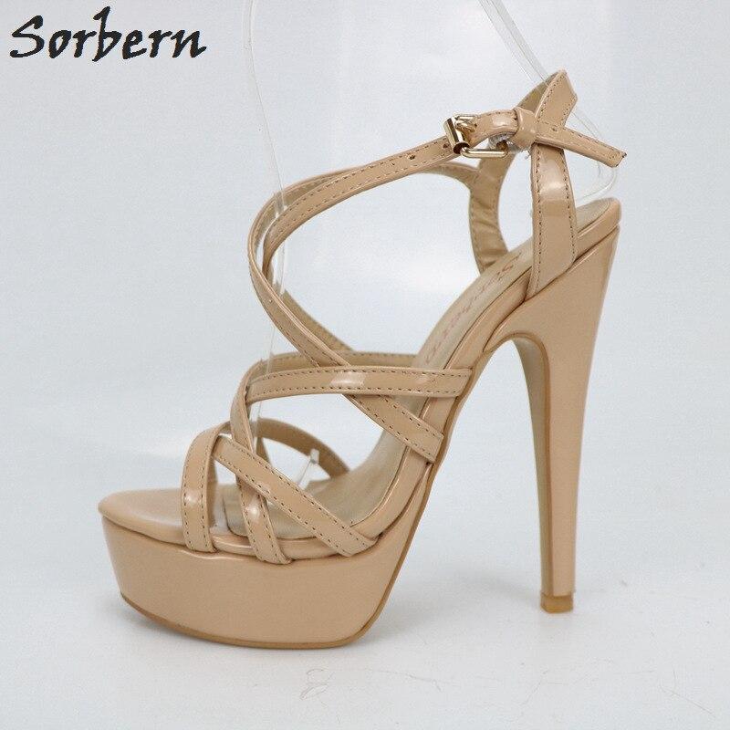 Zapatos Nude Sandalias Brillante Tacones Gladiador Damas Plataforma Rq5jL34A
