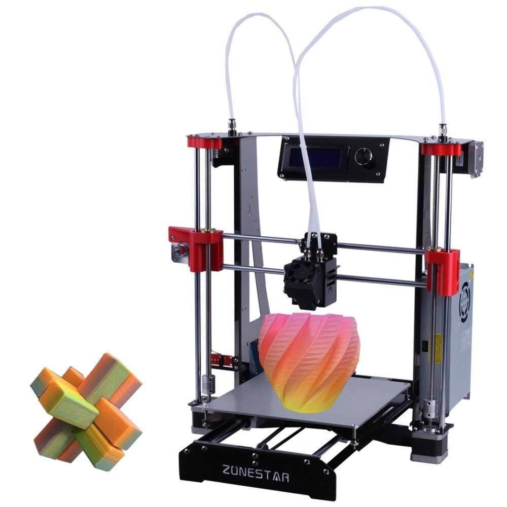 ZONESTAR Venda Quente Barato Dupla Extrusora De Black Metal A8 Atualização i3 Mix Auto Open Source Impressora RepRap 3D de Gravação A Laser kit DIY