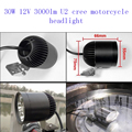 30W 4*U2 Cree motorcycle headlight bicycle led driving lights CE aluminum alloy motorbike spotlights DRL fog light accessories