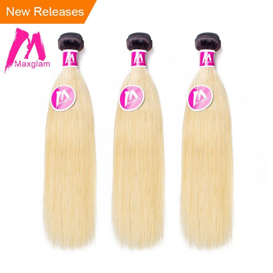 Maxglam Brazilian Straight Hair Weave Bundles Ombre Color 1b 613 Remy 3 Human Hair Bundles Hair