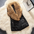 Plus Size 3XL 2017 Winter Women Leather Vest Faux Fur Collar Waistcoats Long Sleeveless Jackets Coats Pocket Colete Feminino