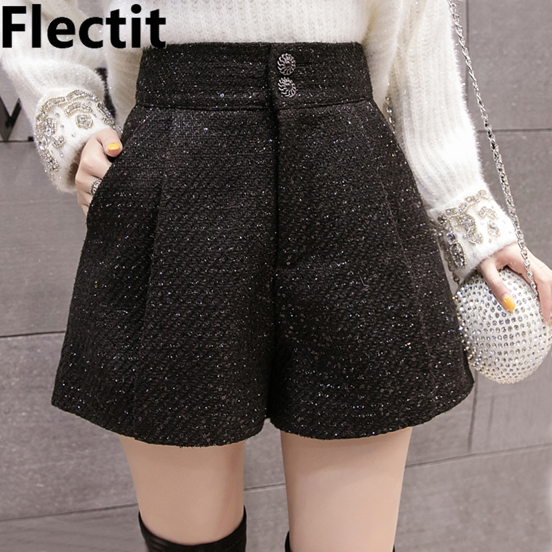 Flectit Women Metallic Thread Tweed Shorts With Royal Button Side Pocket High Waist Tailored Shorts Autumn Winter 2019