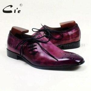 Image 5 - Cie Square Toe Suela de Piel De Becerro auténtica transpirable, hecha a mano, planos informales para hombre, cordón de zapato pintado a mano, color morado OX517
