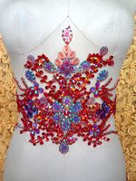 Hand Made Red Sew On Rhinestones Applique Crystals Patches 35 22cm For Top Dress Skirt Belt