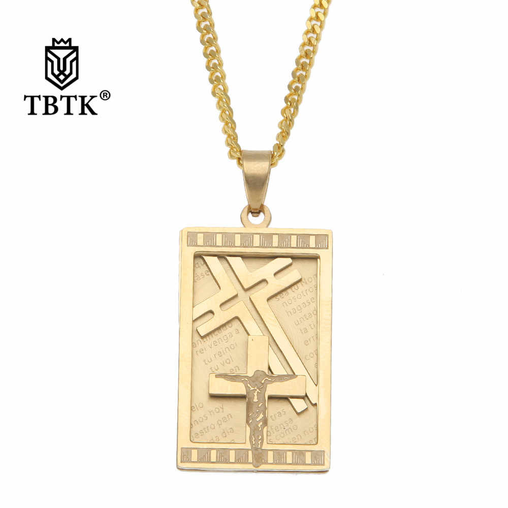 TBTK Jesus Crucified Military Card Pendant Gold Necklace Religious Christian Tag Hiphop Fashion Jewelry Western Style for Man