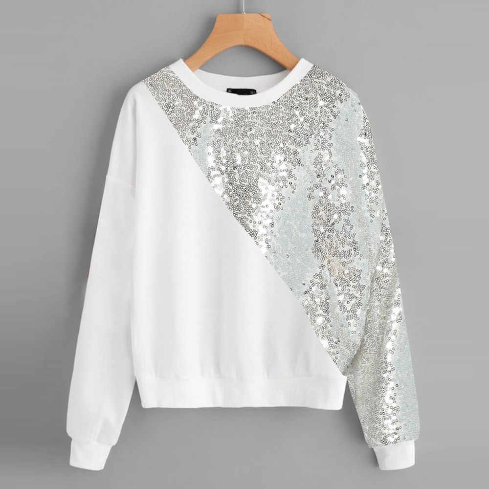 2018 Autumn Women Hoodies Fashion Sequins Patchwork Sweatshirt O-Neck Ladies Casual Pullover Women Clothing