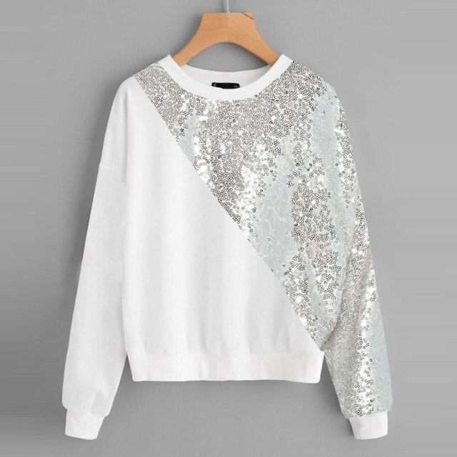 82fda3940b9 Fashion Women Blings Sequins Color Block O-Neck Patchwork Sweatshirt  Pullover Long sleeve round neck sequin stitching sweatshirt