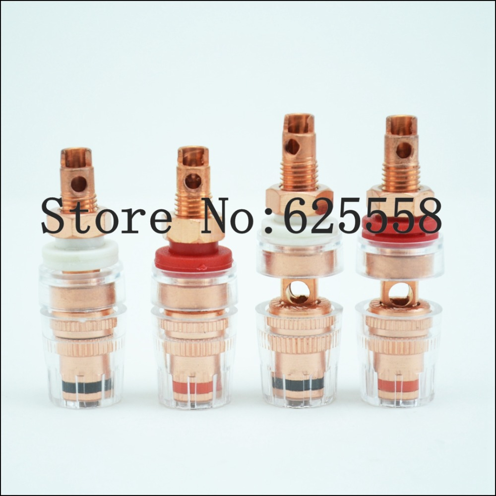 4PCS Terminal Binding Post 4MM Banana Plug Socket HI-END pure copper binding post amplifier speaker audio connector terminal