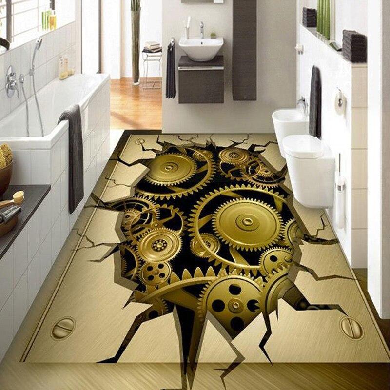 metallic wallpaper modern custom 3d photo metal gear floor. Black Bedroom Furniture Sets. Home Design Ideas