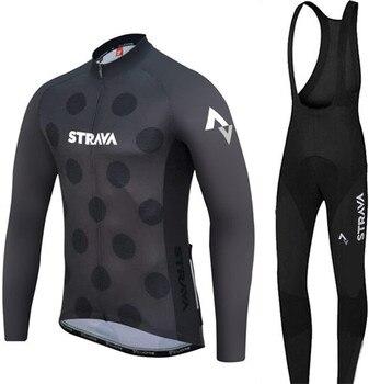 2018 mangas Compridas Outono fina Mem jerseys de Ciclismo MTB da bicicleta da Equipe de Ciclismo Roupas Ropa ciclismo Ciclo Sportswear Pro STRAVA preto