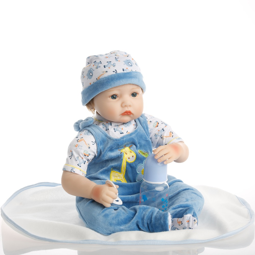 SanyDoll 22 inch 55 cm hot sale solid silicone reborn baby Beautiful fashion piece of clothing lovely doll