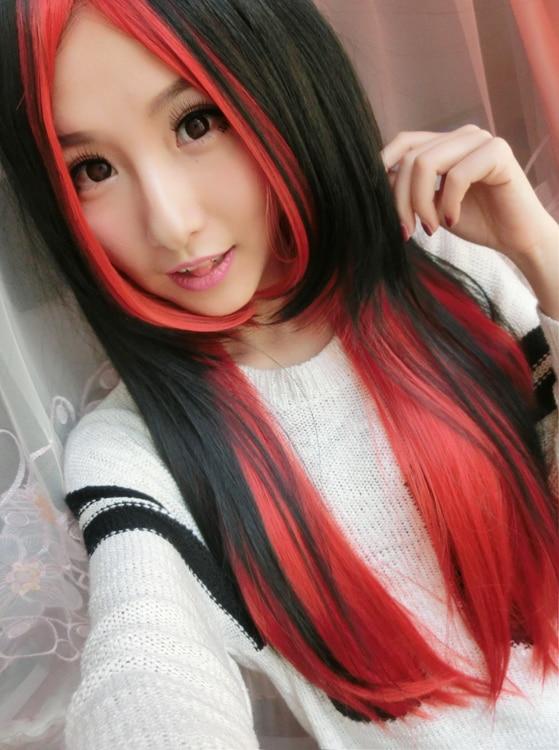 Schwarz rote haare