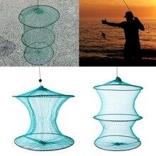 1Pc Fishing Net Round Folding Metal Frame Nylon Mesh Care Creel Tackle Accessory New