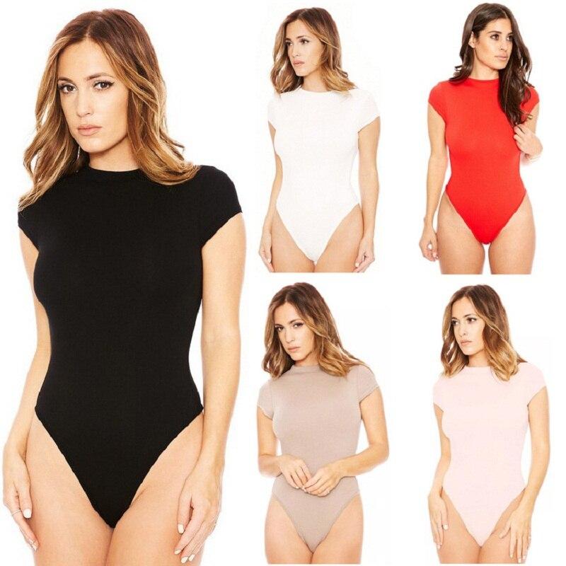 New Summer 2019 Fashion Jumpsuits For Women Sexy Bodysuit O-neck Short Sleeve Skinny Bodysuits High Stretch Beach Women Clothing